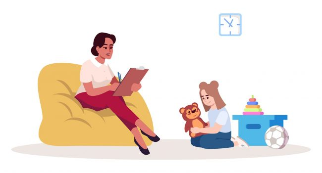 Child therapy session semi flat RGB color vector illustration. Female psychologist and teen girl. Behavioral psychology. Psychological consultation. Isolated cartoon character on white background